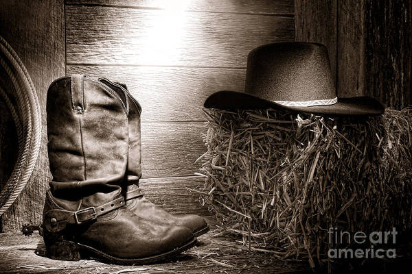 Cowboy Hat Photograph - The Old Boots by Olivier Le Queinec
