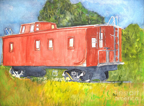 Red Caboose Painting - The Old Caboose by Sandy McIntire