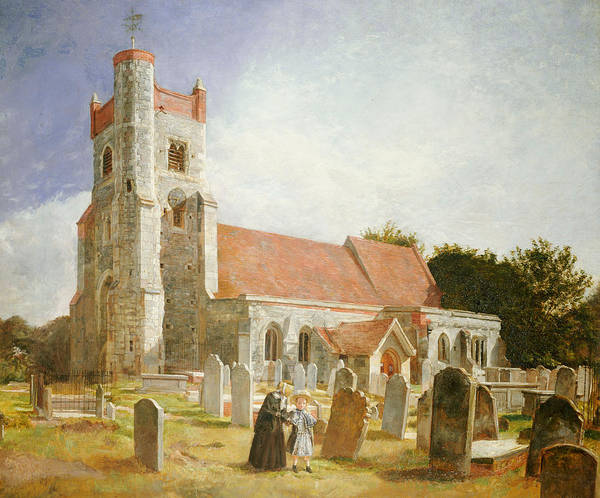 Church Yard Painting - The Old Church by William Holman Hunt