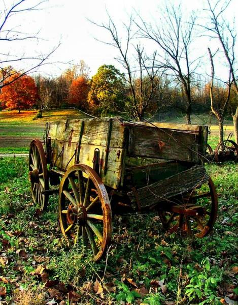 Wagon Wheel Photograph - The Old Conestoga by Julie Dant
