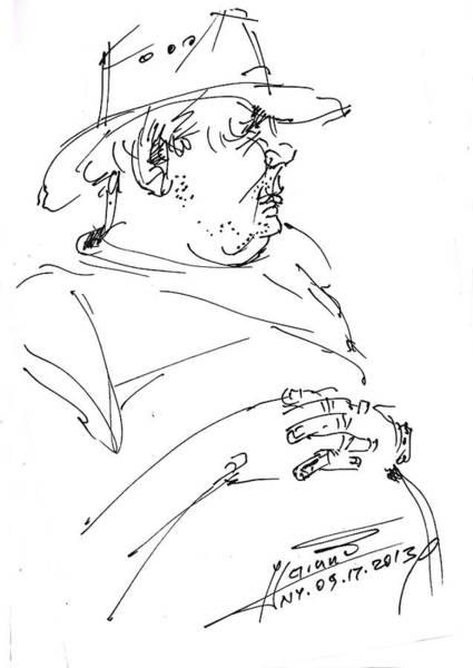 Cowboy Drawing - The Old Cowboy by Ylli Haruni