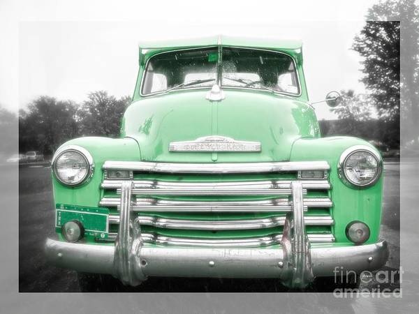 Old Chevy Photograph - The Old Green Chevy Pickup Truck by Edward Fielding