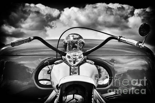 Harley Davidson Black And White Wall Art - Photograph - The Old Harley Monochrome by Tim Gainey