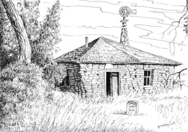 Weeds Drawing - The Old Homestead by Bern Miller