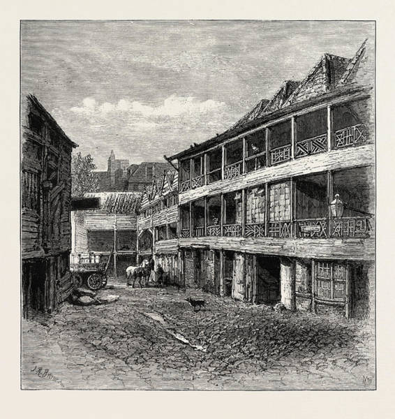 Reconstruction Drawing - The Old  Kings Head  In The Borough Now In Course by English School