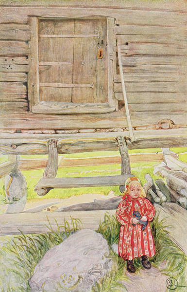 Log Drawing - The Old Lodge, From A Commercially by Carl Larsson