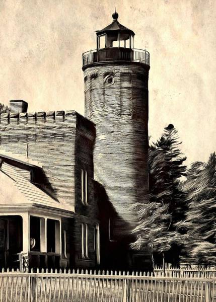 Michilimackinac Wall Art - Painting - The Old Mackinac Point Lighthouse by Dan Sproul