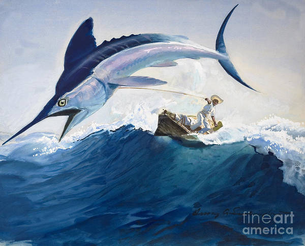 Angler Wall Art - Painting - The Old Man And The Sea by Harry G Seabright