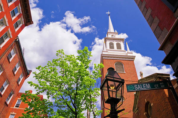 Boston North End Wall Art - Photograph - The Old North Church And Gas Street by Russ Bishop