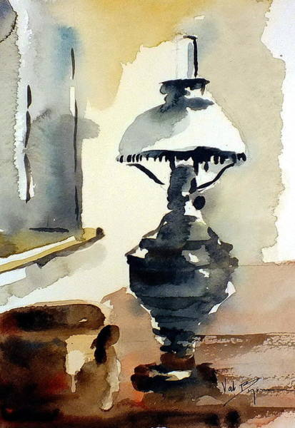 Mixed Media - The Old Oil Lamp by Val Byrne