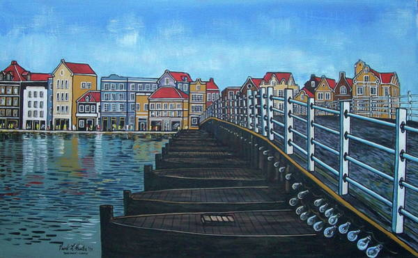 The Old Queen Emma Bridge In Curacao Art Print