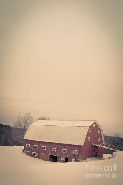 Photograph - The Old Red Cow Barn In Winter by Edward Fielding