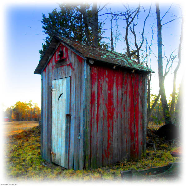 Digital Art - The Old Red Outhouse by K Scott Teeters