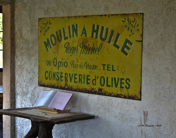 Chateauneuf Photograph - The Old Sign At The Olive Mill by Allen Sheffield