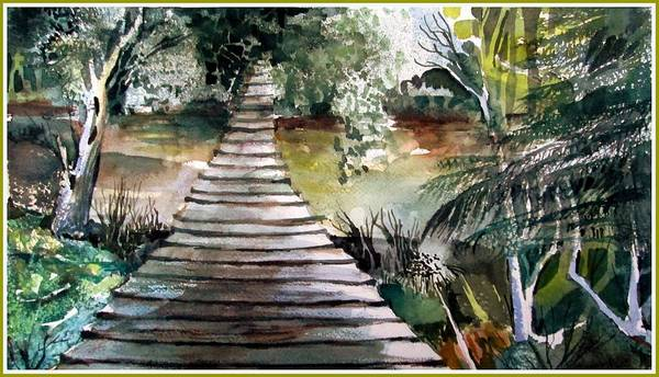 Wall Art - Painting - The Old Swinging Bridge by Mindy Newman
