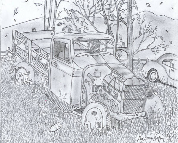 Old Truck Drawing - The Old Texaco Gas Truck by Gerald Griffin