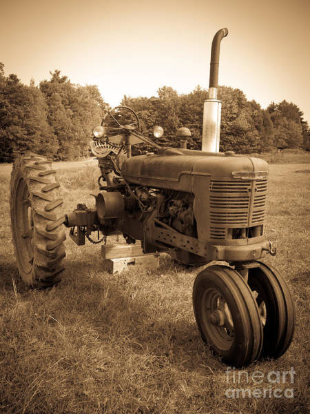 Tire Photograph - The Old Tractor Sepia by Edward Fielding