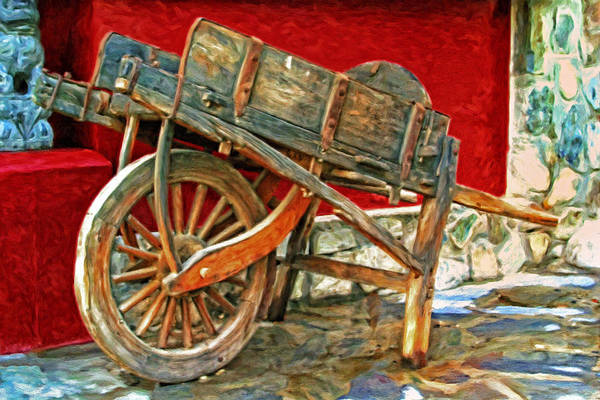 Hand Made Painting - The Old Wheelbarrow by Michael Pickett