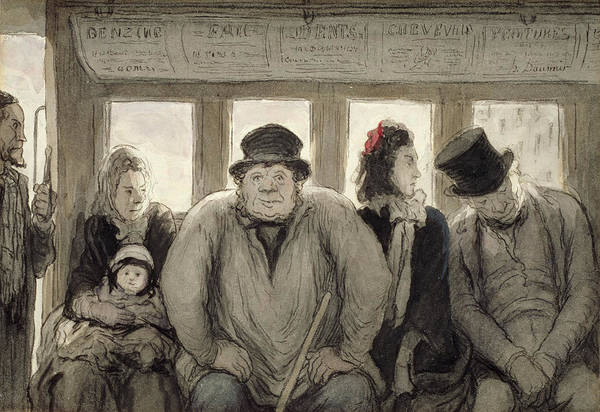 Transport Drawing - The Omnibus by Honore Daumier