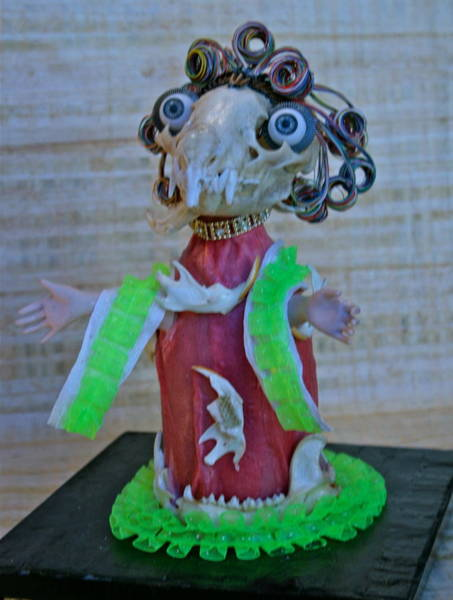 Recycled Materials Painting - The Opera Diva  Front View by Ruth Edward Anderson
