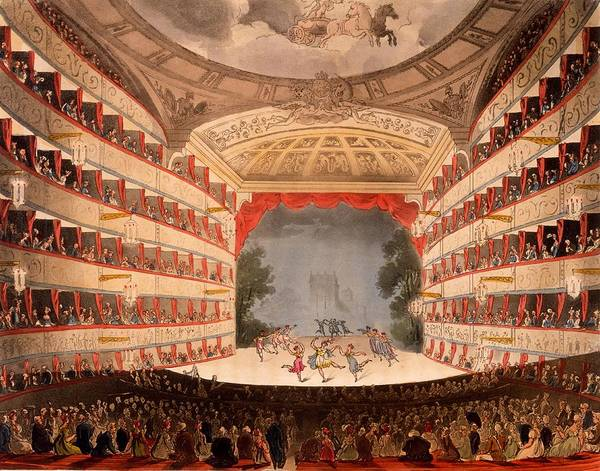 Wall Art - Drawing - The Opera House, London by T. & Pugin, A.C. Rowlandson