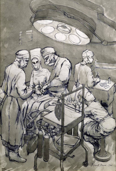 Patient Wall Art - Drawing - The Operation Theatre, 1966 by Osmund Caine