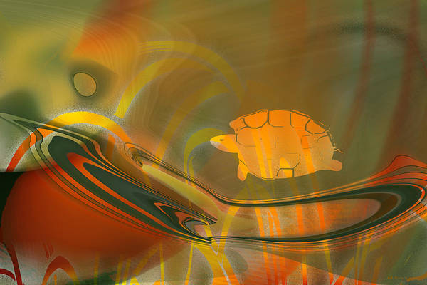 Digital Art - The Orange Turtle's World - Abstract by rd Erickson