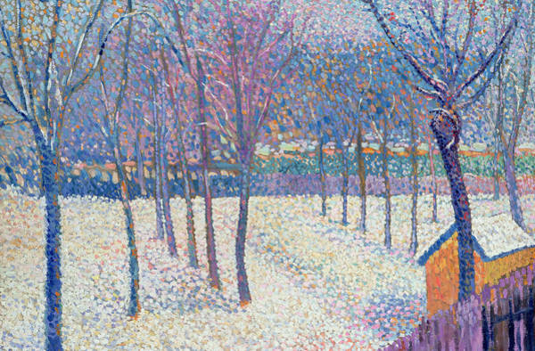 Cascade Painting - The Orchard Under The Snow  by Hippolyte Petitjean