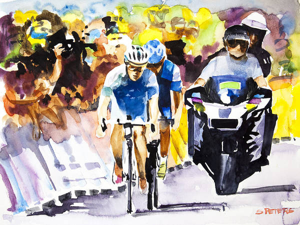 Le Tour De France Wall Art - Painting - The Other Bike by Shirley  Peters