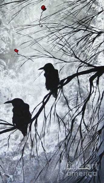 Wall Art - Painting - The Overseers 2 Of 2 Whimsical Crow Moon Heart Painting By Megan Duncanson by Megan Duncanson