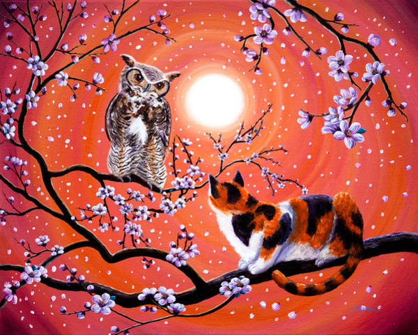 Wall Art - Painting - The Owl And The Pussycat In Peach Blossoms by Laura Iverson