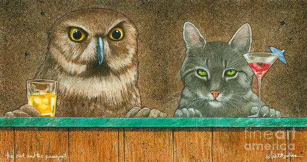 Owl Painting - The Owl And The Pussycat... by Will Bullas