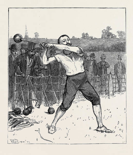 Wall Art - Drawing - The Oxford And Cambridge Athletic Sports Throwing The Hammer by English School