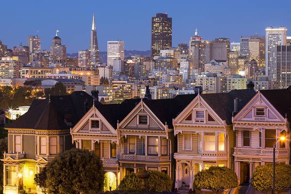 Photograph - The Painted Ladies And San Francisco Skyline by Adam Romanowicz