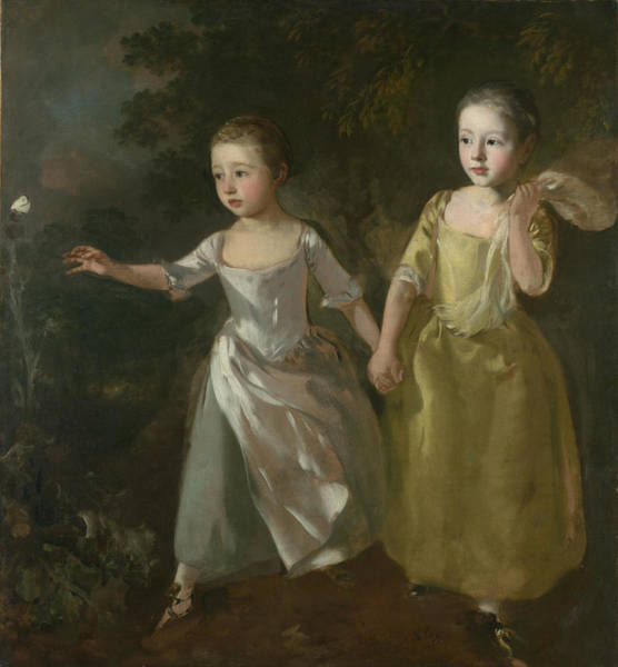 Thomas Gainsborough Wall Art - Painting - The Painter's Daughters Chasing A Butterfly by Thomas Gainsborough