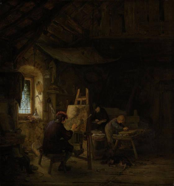 Wall Art - Painting - The Painter's Studio, Adriaen Van Ostade by Litz Collection