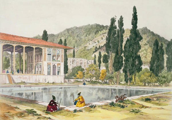 Pool Drawing - The Palace And Gardens Of Ashref by Jules Joseph Augustin Laurens