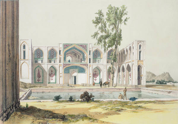 Pool Drawing - The Palace Of Tchar-bag At Isfahan by Jules Joseph Augustin Laurens