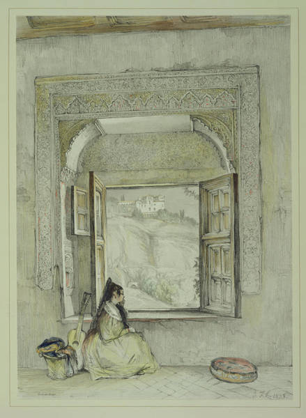 Window Drawing - The Palace Of The Generalife by John Frederick Lewis