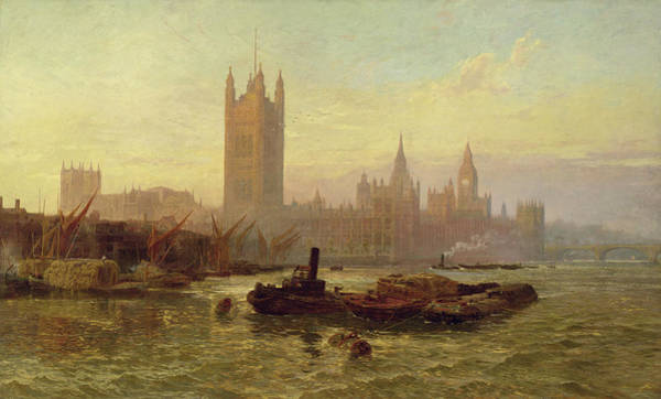 Clock Tower Painting - The Palace Of Westminster, 1892  by George Vicat Cole