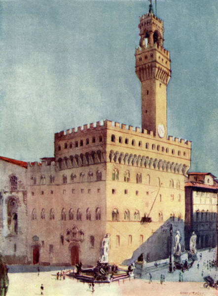 Italy Drawing - The Palazzo Vecchio (town Hall) by Mary Evans Picture Library