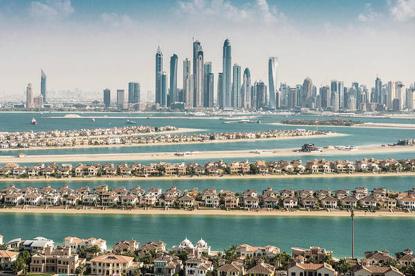Villa Photograph - The Palm Jumeirah In Dubai With Skyline by Franckreporter