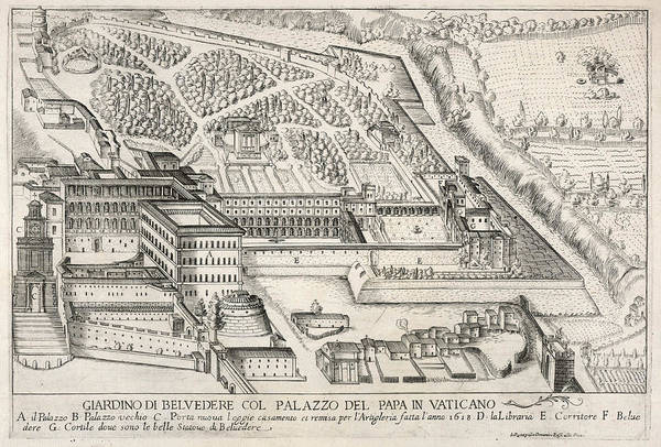 Garden Wall Drawing - The Papal Palace And Grounds by Mary Evans Picture Library