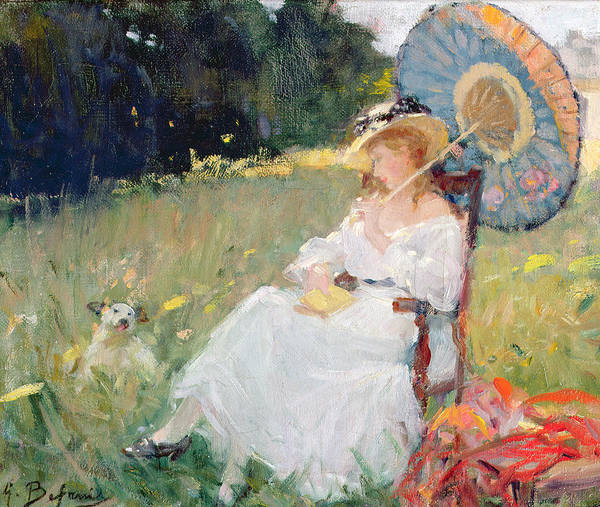 Yellow Ribbon Painting - The Parasol by Gennaro Befanio