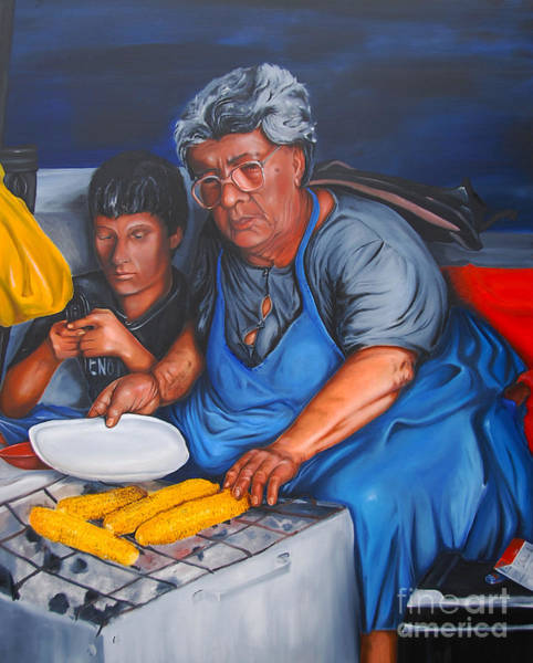 Painting - The Parga Corn Seller by James Lavott