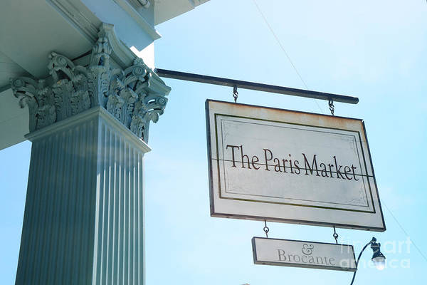 Street Sign Photograph - The Paris Market - Savannah Georgia Paris Market - Paris Macaron Shop - Parisian Brocante Shop by Kathy Fornal