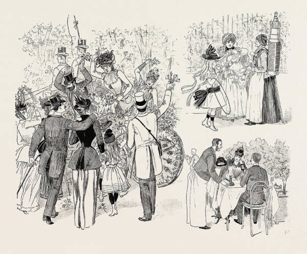 Coco Drawing - The Paris Season The Battle Of Flowers In The Avenue Des by French School