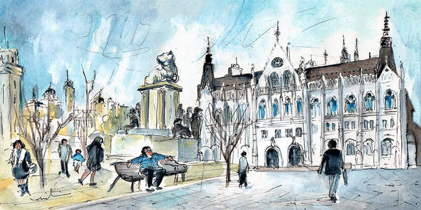 Painting - The Parliament Square In Budapest by Miki De Goodaboom