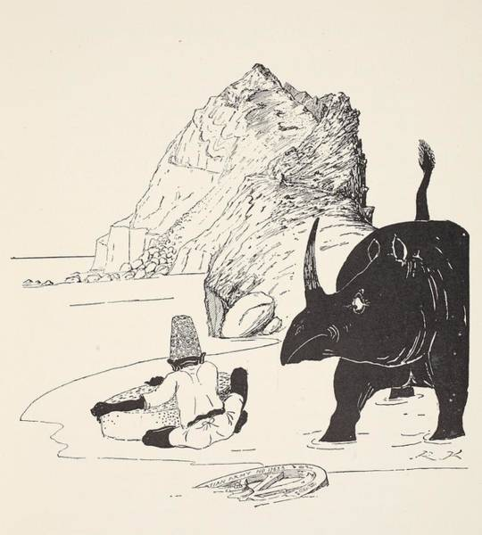 Sand Drawing - The Parsee Beginning To Eat His Cake by Joseph Rudyard Kipling