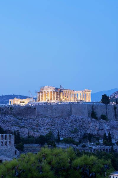 Ancient Greek Photograph - The Parthenon Lit At Night by Christopher Groenhout
